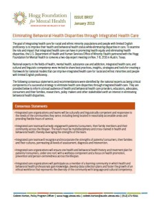 Image of Cover of Eliminating Behavioral Health Disparities through Integrated Health Care report
