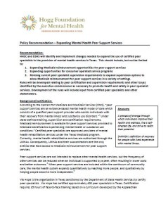 Policy Recommendation: Expanding Mental Health Peer Support Services report cover