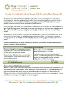 Cover of Policy Brief: Housing for People with Mental Illness DSHS Exceptional Item Request #8