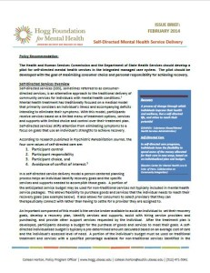 Policy Recommendation: Self-Directed Mental Health Service Delivery cover