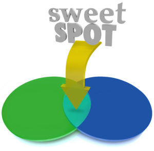 Sweet Spot words and arrow pointing to intersecting overlapping area of two circles in a venn diagram as a targeted market or customer base