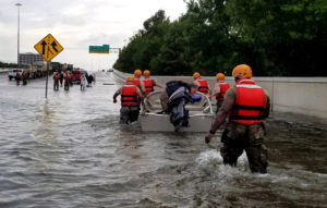 resilience - Soldiers with the Texas Army National Guard move through flooded Houston streets as floodwaters from Hurricane Harvey continue to rise, Monday, August 28, 2017. More than 12,000 members of the Texas National Guard have been called out to support local authorities in response to the storm. (U.S. Army photo by 1st Lt. Zachary West)