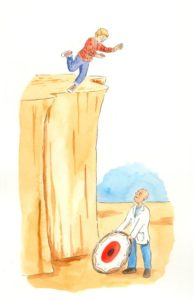 Illustration of man on the ledge of a cliff and a man holding a small trampoline below