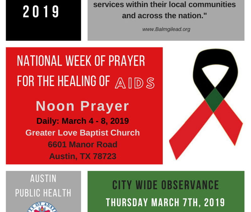 EVENT   National Week of Prayer for the Healing of AIDS, 3/3 – 3/9/19