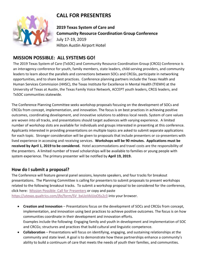 Texas System of Care (TxSOC) and Community Resource Group (CRCG) Conference 1