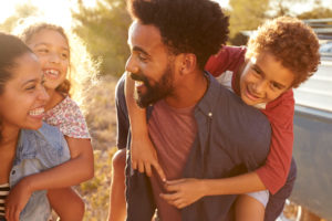 mental health - loving, diverse family of four