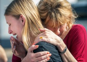 school safety - Santa Fe High School student Dakota Shrader is comforted by her mother Susan Davidson following a shooting at the school on Friday, May 18, 2018, in Santa Fe, Texas. Shrader said her friend was shot in the incident.