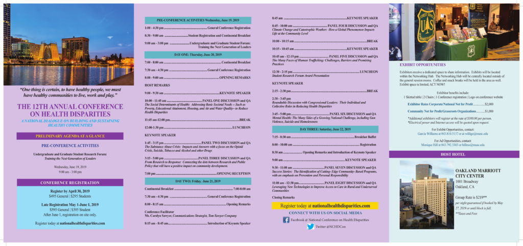 12th National Conference on Health Disparities brochure 2