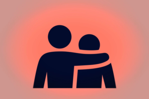 Illustration of a person putting there arm around another person