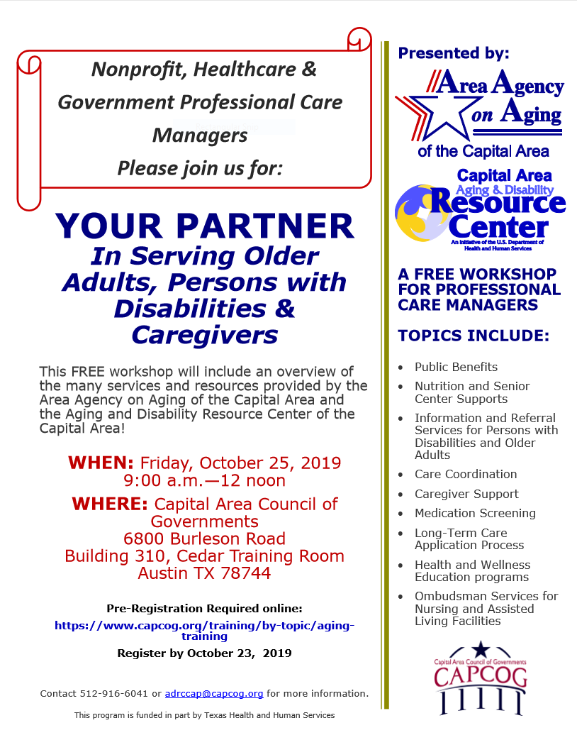 Poster for free workshop for professional care managers, 10/25/19