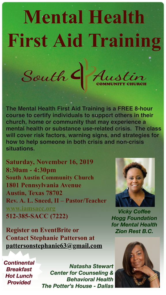 flyer for mental health training event
