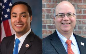 Headshots of Joaquin Castro and Octavio Martinez for The Inequality of COVID-19 podcast