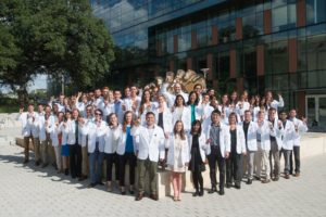 A photo of the first Dell Medical School graduating class