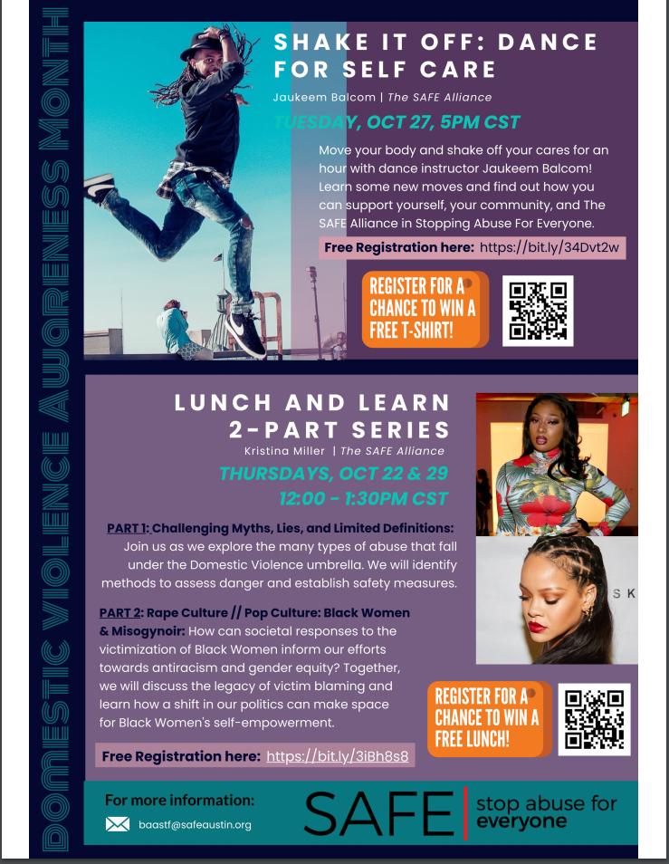 flyer for SAFE events