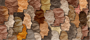 An image of paper faces collaged together