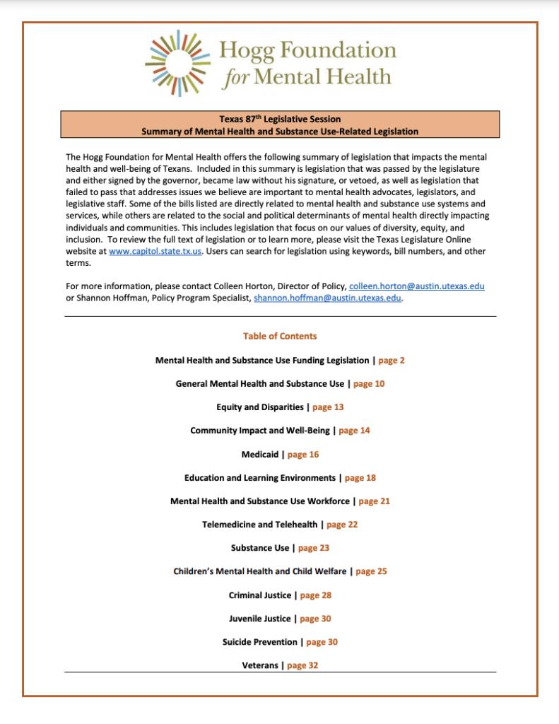 Cover of 87th Legislative Session summary