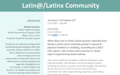 Training: Domestic Violence in the Latina/LatinX Community 9/23 (virtual)