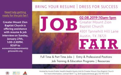 EVENT | Job Fair at Greater Mount Zion Baptist Church, 2/8/19
