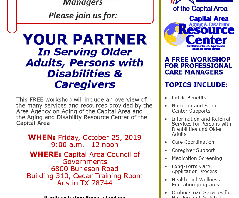 EVENT | Free Workshop for Professional Care Managers, 10/25/19