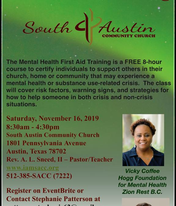 EVENT | Free Mental Health First Aid Training- Tomorrow, Saturday 11/16