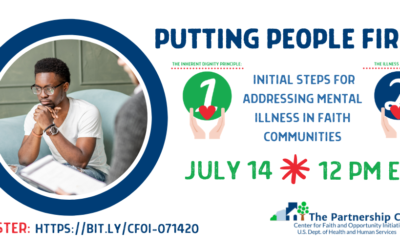 Webinar: July 14 at 11 AM CST – Putting People with Mental Illness First (Faith-Focus)