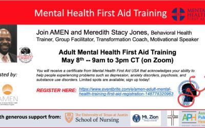 AMEN Mental Health First Aid Training – May 8, 2021