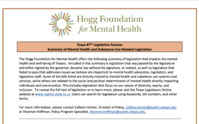 Texas 87th Legislative Session and Mental Health